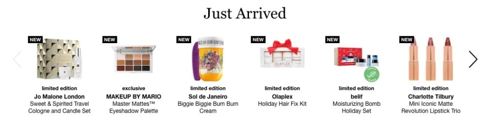 "Example of Sephora's ""just arrived"" section on their website"