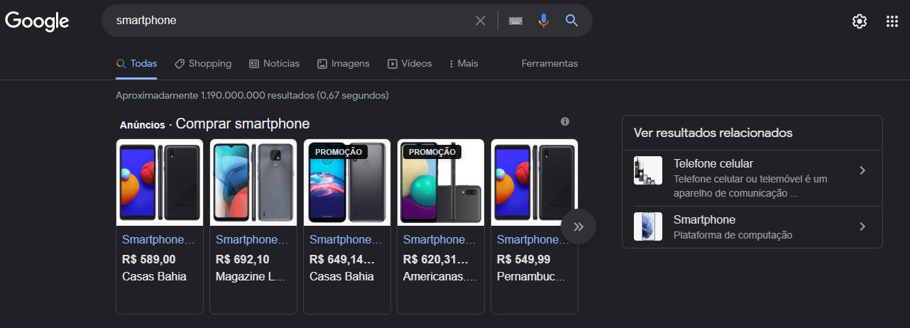 imagem de uma pesquisa por smartphone no google