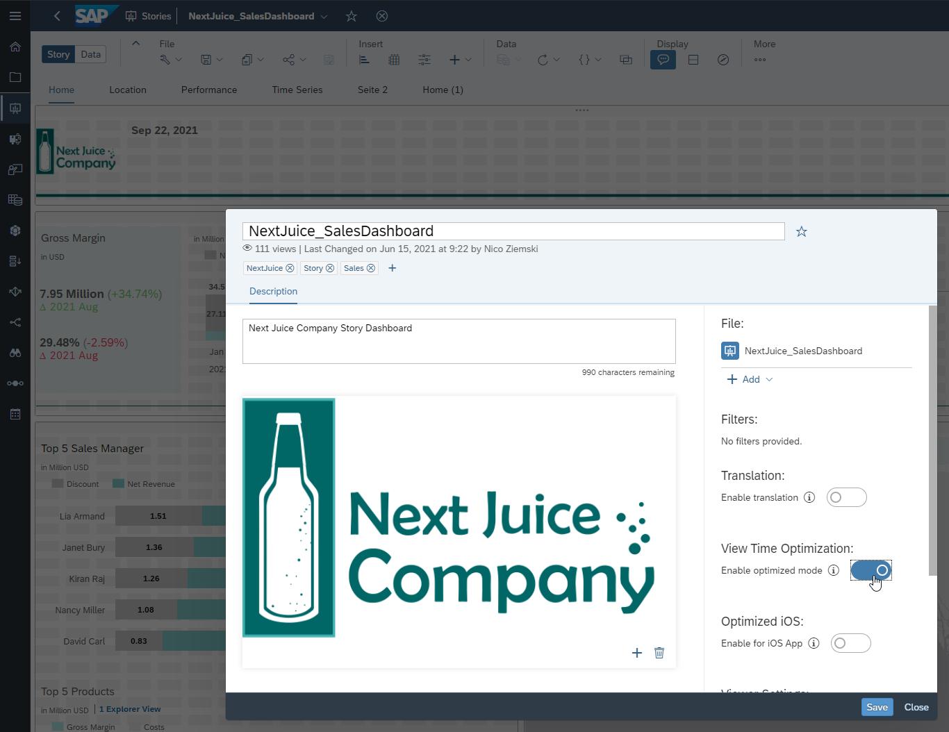 screenshot dashboard view sac