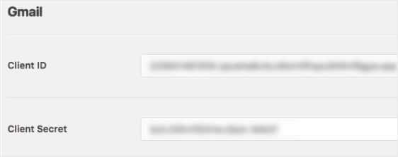 copie su identificación de cliente y el secreto del cliente en la configuración de WP Mail SMTP