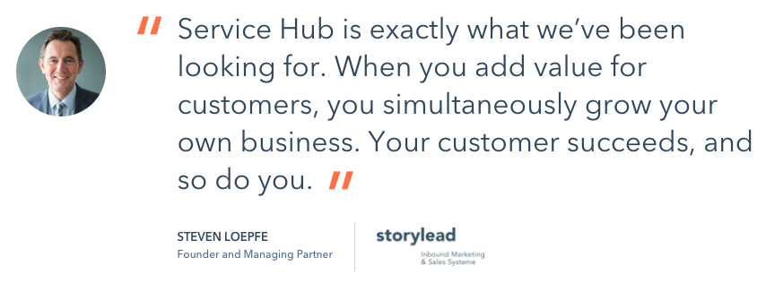 Hubspot customer service vague testimonial.