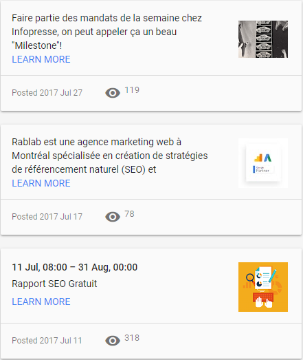 google my business 3 posts - Rablab marketing web montreal