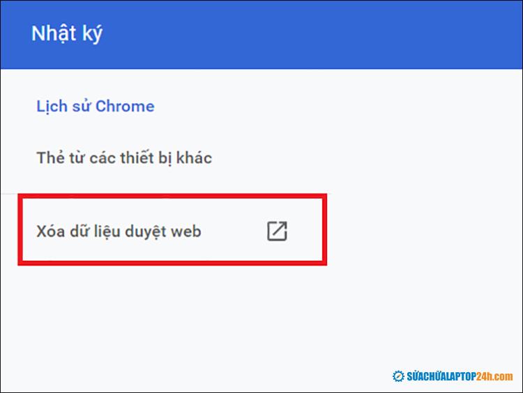 Click chọn Xóa dữ liệu duyệt web