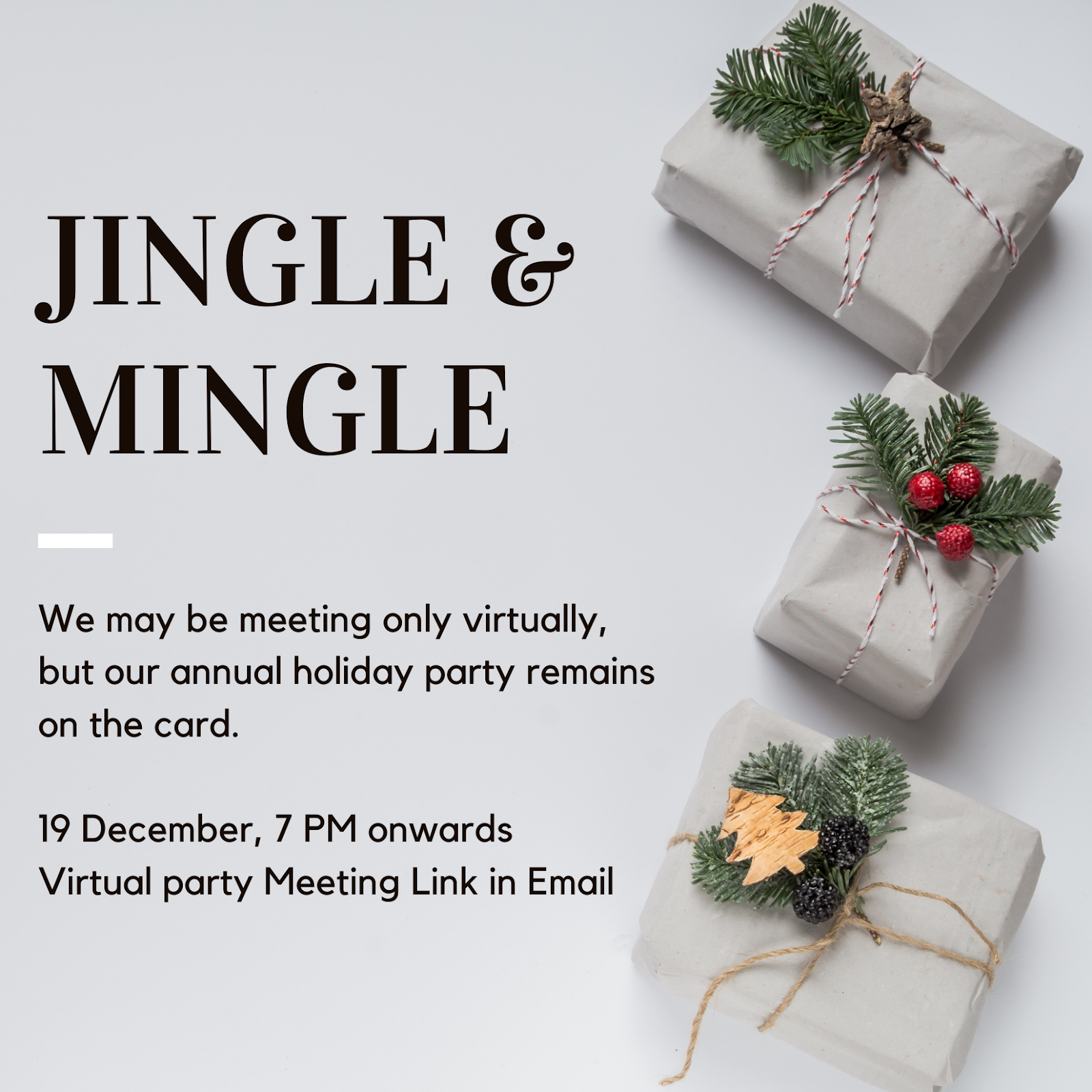 Example of an invite that can be sent for a virtual holiday party