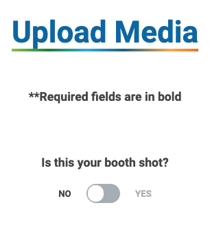 Screenshot from ZAPP. There is a question that says Is this your booth shot and allows you toggle between Yes and No.