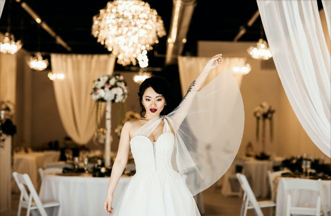 woman posing with small wedding venue