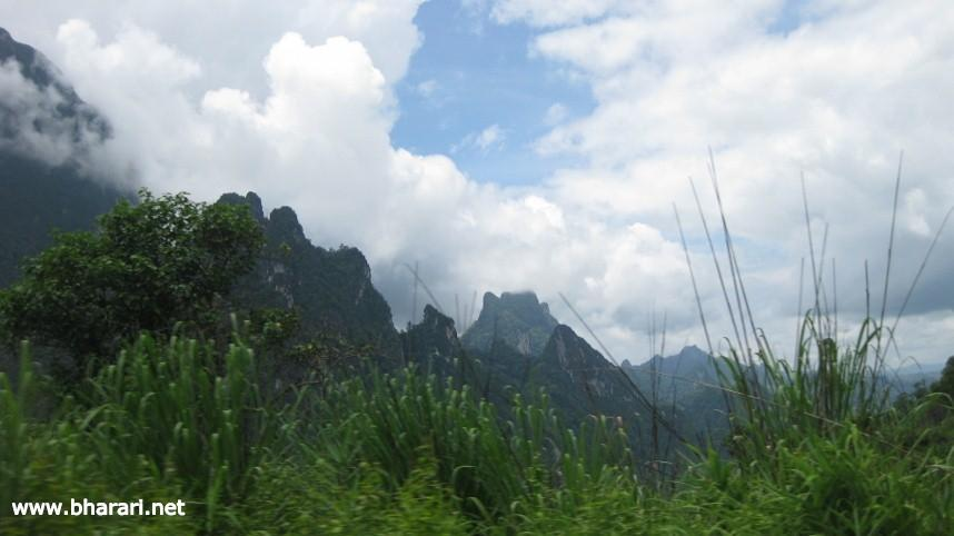 Spectacular limestone mountain scenery en route to Luang Prabang from Vientiane