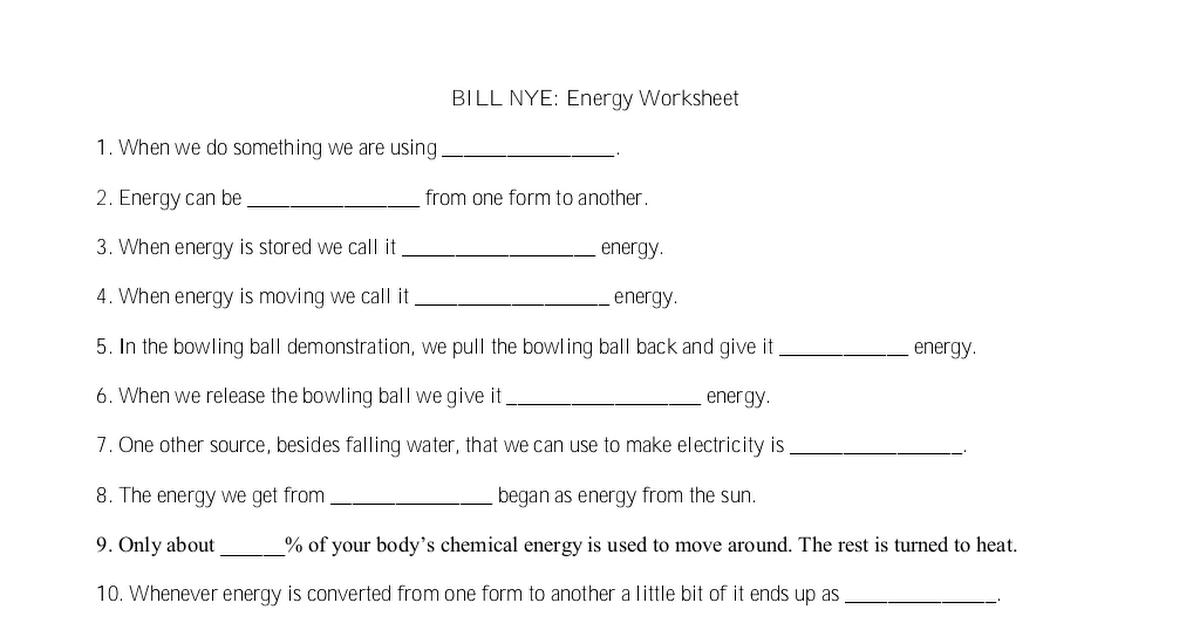 Bill Nye Energy Worksheetpdf Google Drive