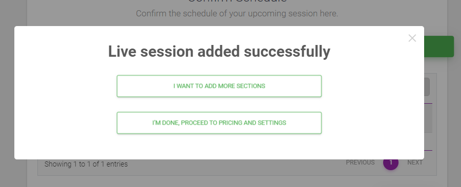 Live Session added successfully