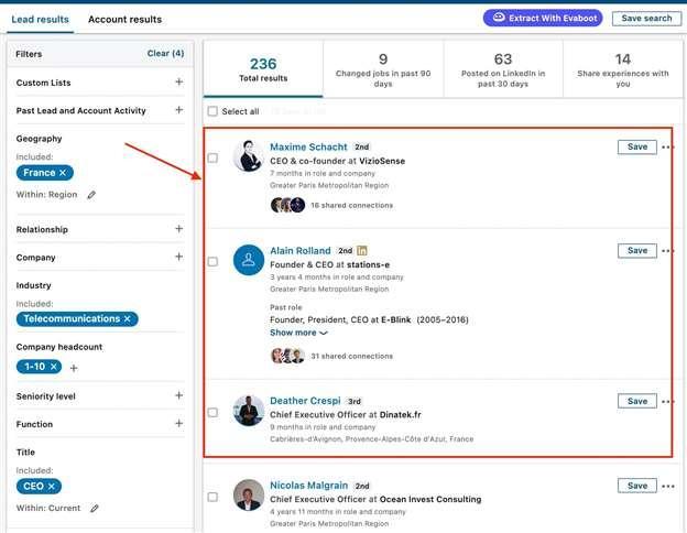 linkedin sales navigator search results