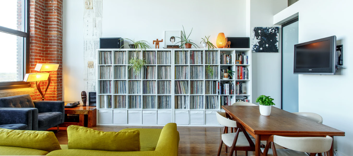 vertical shelving to save space and storage solution
