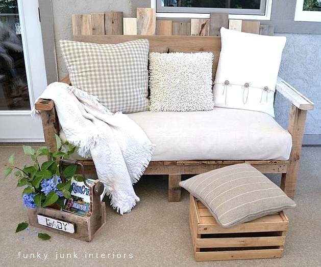 Bench with a Footstool for Your Patio: These 12 DIY Outdoor Pallet Furniture Ideas will add some flare to your outdoor space and save you money.