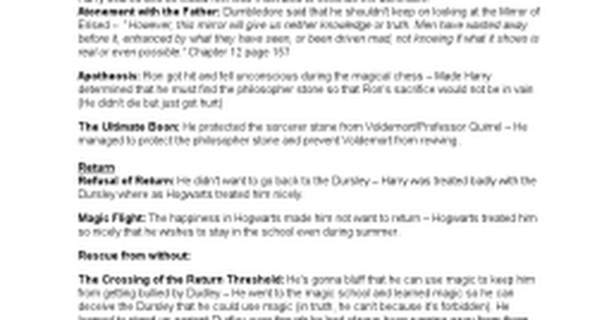 the monomyth of harry potter essay The call harry's name is called to participate in the triwizard tournament the triwizard tournament is a competition between the top magical schools in europe.