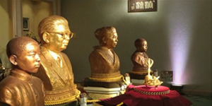 Bronze sculptures of the founders of Shinnyo-en Buddhism