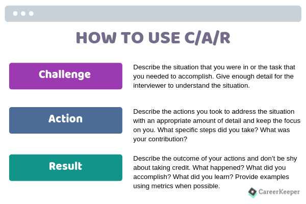 Use C/A/R to tell your story during a job interview.