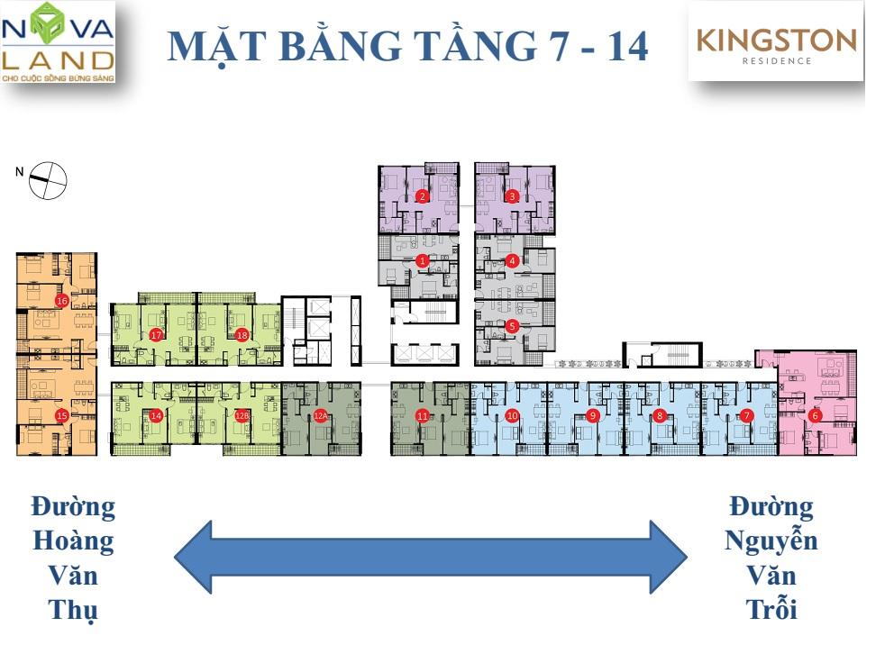 mặt bằng căn hộ kingson tầng 7 - 14