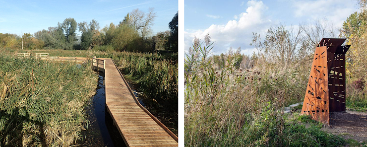 izquierda: Morden Hall Park, foto a través de Wild Deck Company.   derecha: Bird Blind, foto a través de Plant Architect.