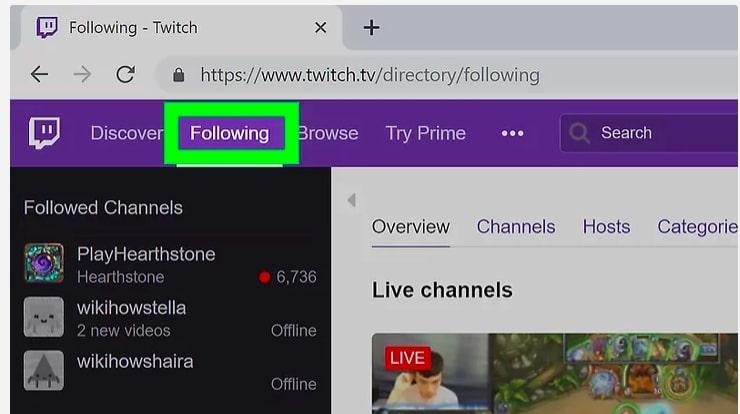 Twitch Following tab