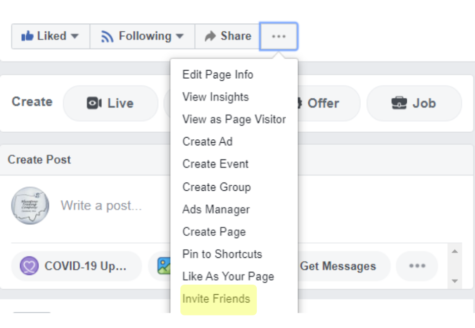 How to Invite friends when creating a Facebook Business Page