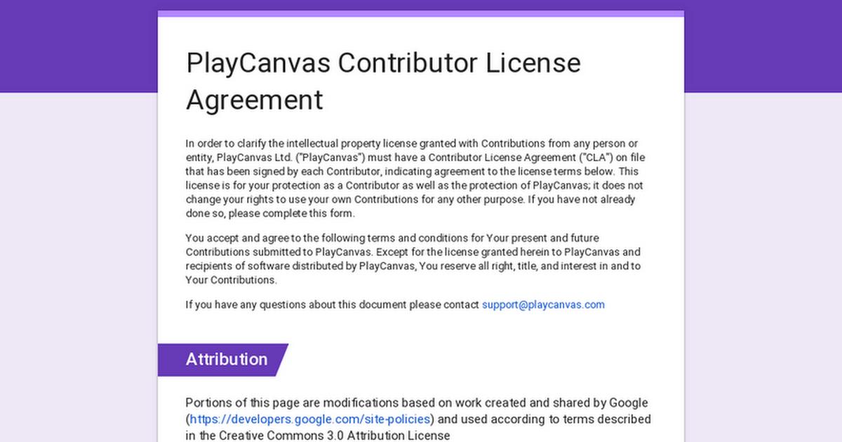 Playcanvas Contributor License Agreement