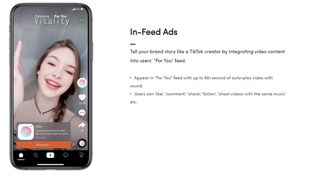A screenshot of In-Feed ads on TikTok