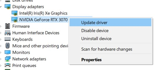 Update driver option in a driver context menu on the Device manager