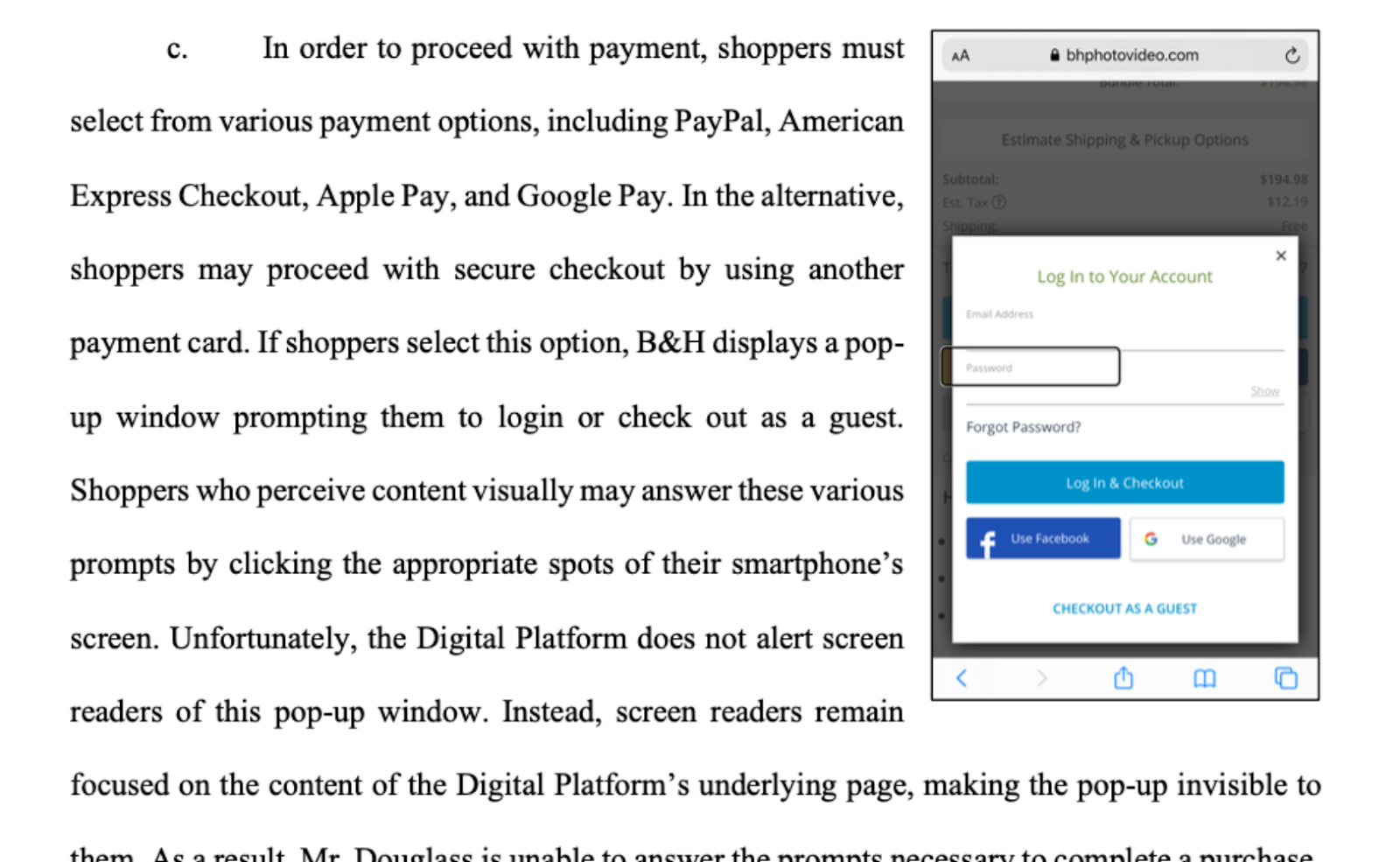 Screenshot describing inability to checkout on a mobile website as described in the text below in this blog.