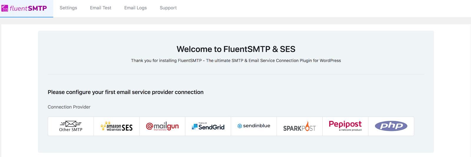 fluentsmtp configuration, fluentsmtp email services, fluentsmtp screenshot