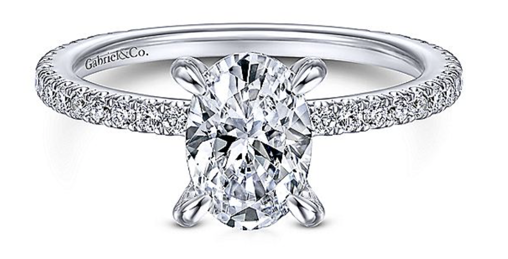 white gold oval diamond engagement room