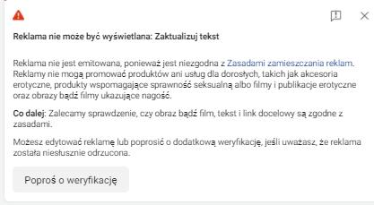 Odrzucona reklama na facebooku - screen