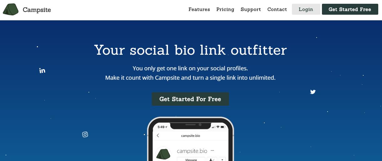 página inicial da ferramenta Campsite.bio