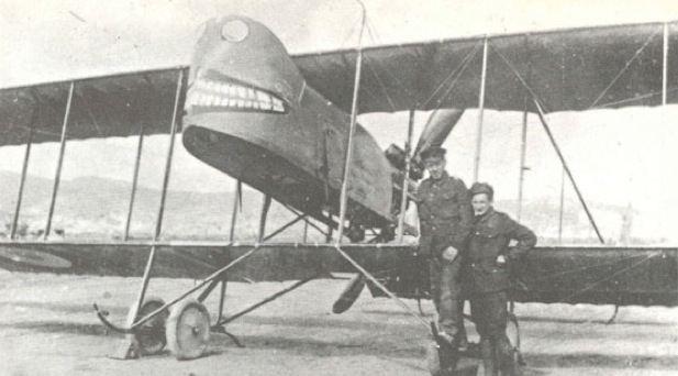 "Farman MF.11 with a ""Face"", with two peering eyes and blunt teeth wrapped with lips."