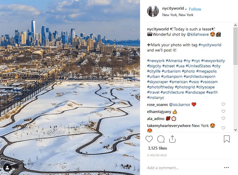 Balises géographiques de stratégie de hashtags Instagram