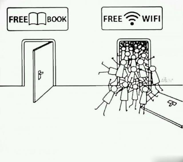 Image result for free wifi vs free book