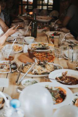 Italian Dinner on a table