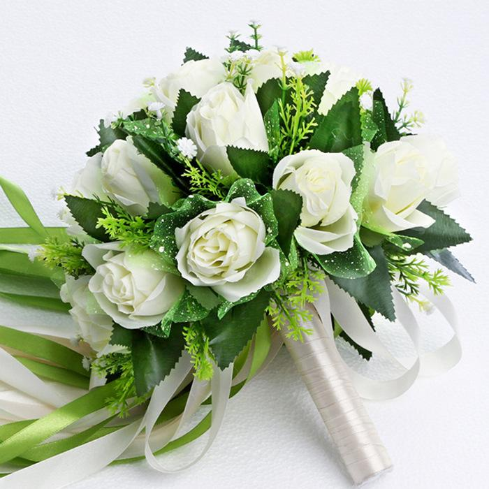 2016-new-arrive-wedding-bridal-bouquet-artificial-silk-cloth-white-rose-bouquet-romantic