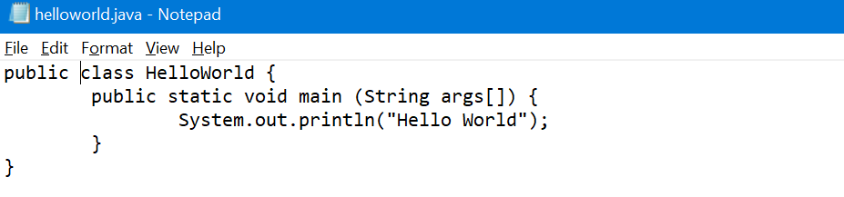 hello world Notepad