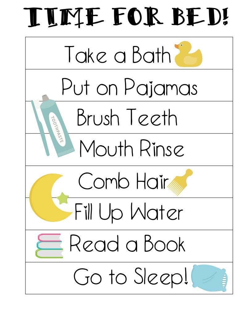Toddler bedtime routine chart.