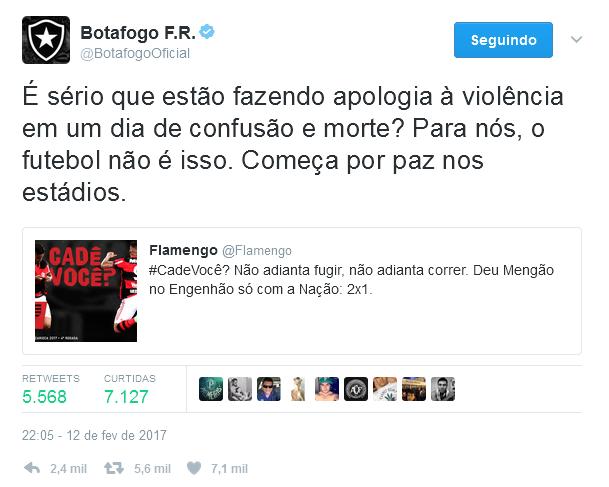 Botafogo repudia atitude de apologia à violência feita pelo Flamengo