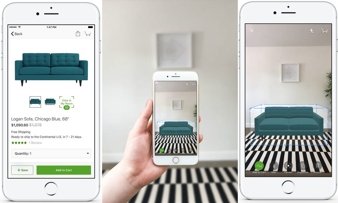 The Houzz App's AR capability being shown in the App