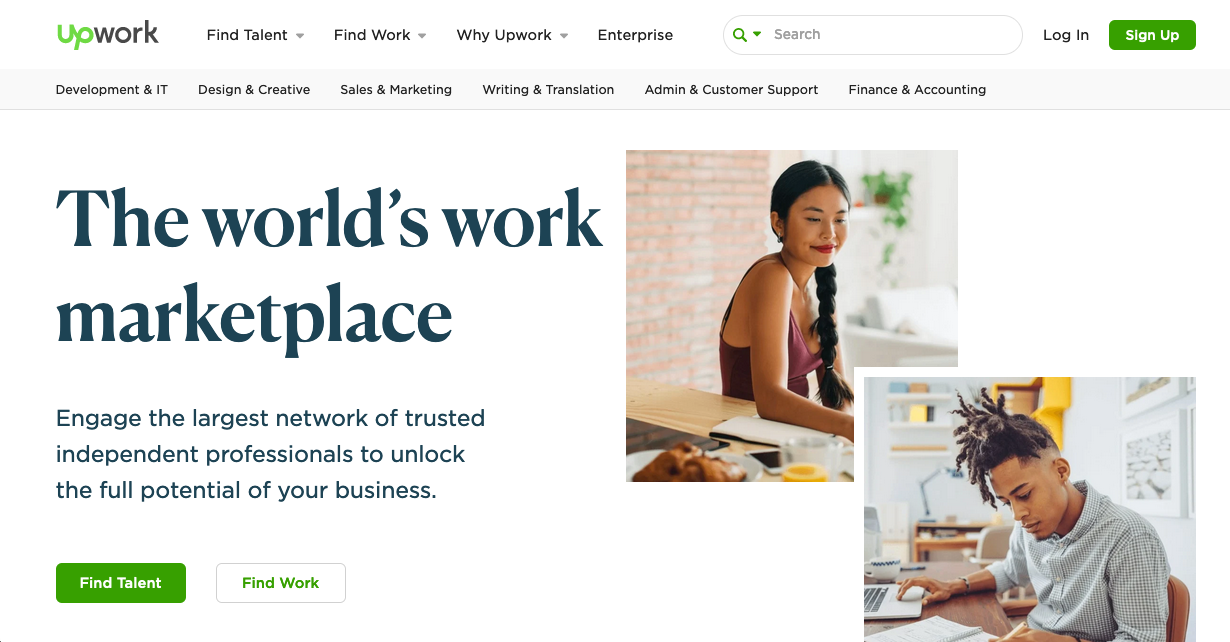 Screenshot of freelancing website: Upwork