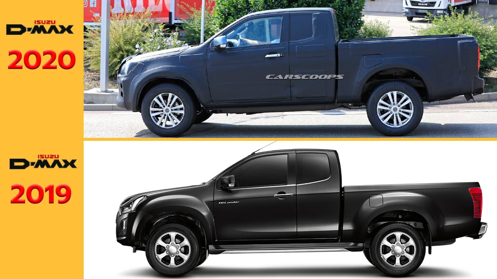 ภาพเปรียบเทียบตัวถังของ Isuzu D-Max โฉมเก่าและใหม่