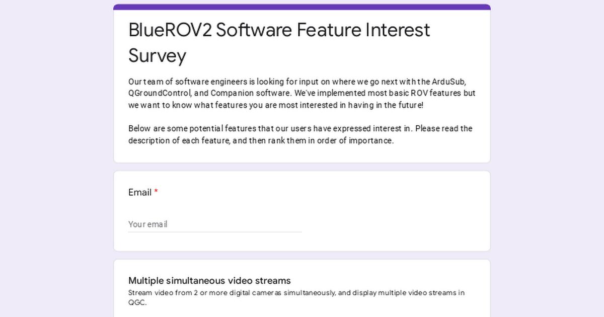 BlueROV2 Software Feature Interest Survey