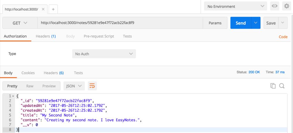 Node Express Rest API Retrieve a Single Note