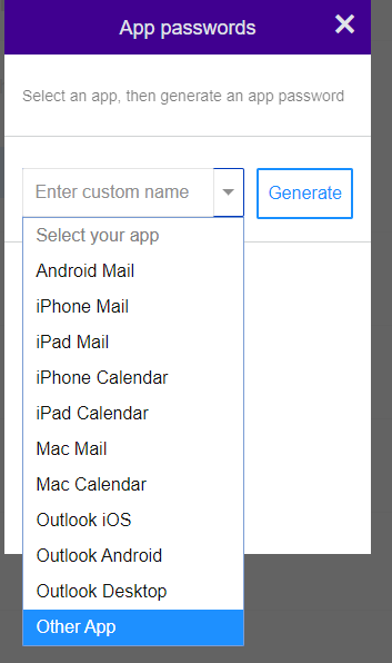 Applications password generation modal