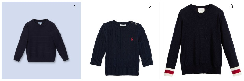 Wimbledon 2016: Spectator Style for Kids Jacadi, Horizontal Cable-Knit Sweater in Navy Blue £27.30* Ralph Lauren, Cable-Knit cotton sweater in Hunter Navy £59 Gucci, Boys Navy Blue Knitted V-Neck Sweater £115