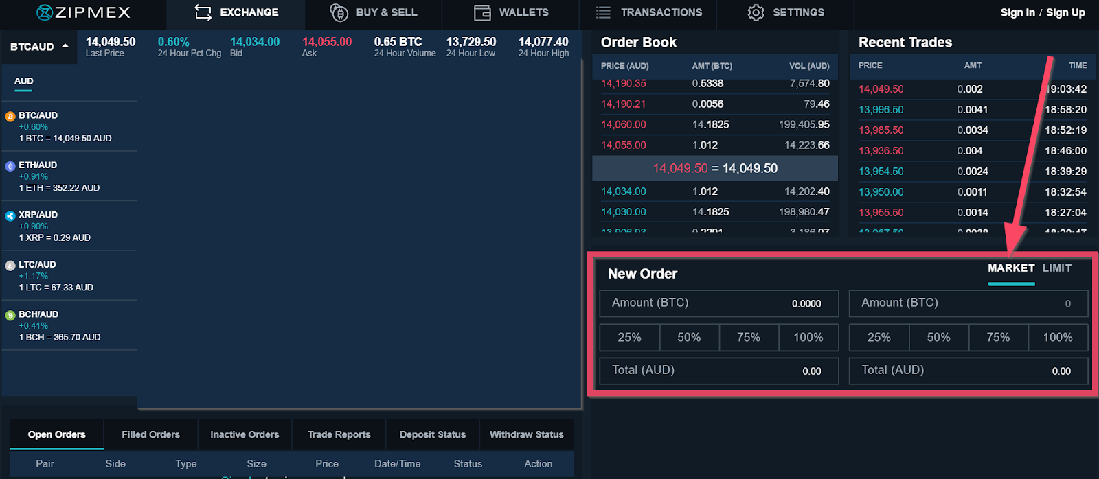 Market order sample on a trading platform