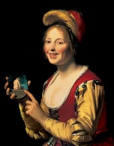 Smiling Girl, A Courtesan, Holding an Obscene image. Gerrit van Honthorst (1625). Courtesy SLAM Online collections, Friends Fund, CC0 1.0