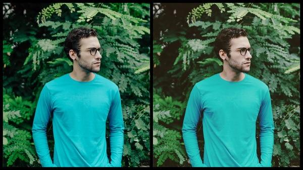 foto de um homem branco com camiseta azul posando em um fundo com plantas com o Filtro Moody do AirBrush