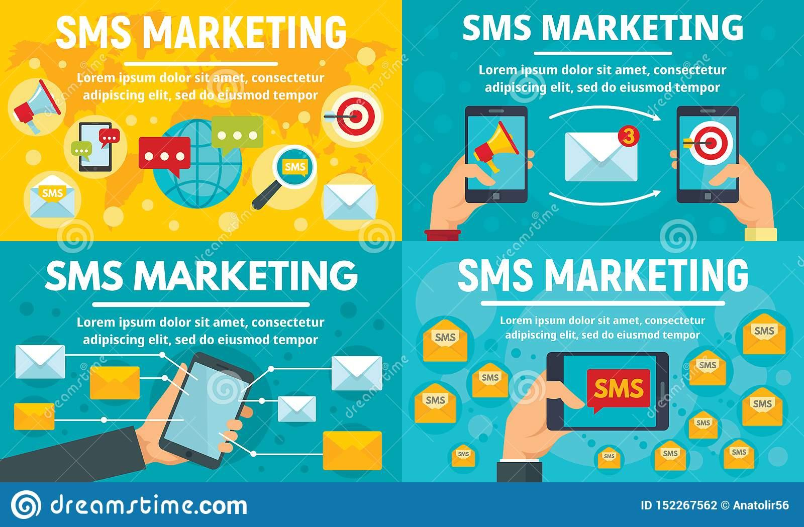 Business Sms Marketing Banner Set, Flat Style Stock Vector - Illustration  of digital, content: 152267562
